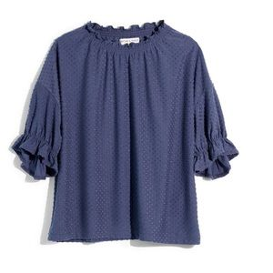 Madewell Pindot Texture Ruffle Trim Top Blouse NWT